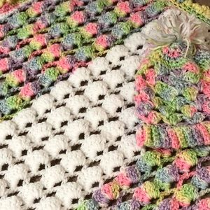 Handmade crotech baby blanket and cocoon sweater